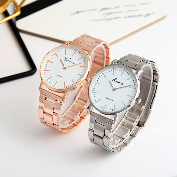 1 Pair Fashion Couple Watch Stainless Steel Waterproof Lovers Classic Quartz Watches 2 PCS rose gold one size