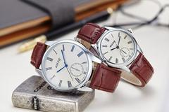 1 Pair Fashion Couple Watch Leather Stainless Steel Analog Luxury Clock women men Wristwatch 1pair coffee band white case one size