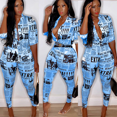 Women 2 Piiece Set Short Shirt And Long Pants Sportsuit Tracksuit blue s