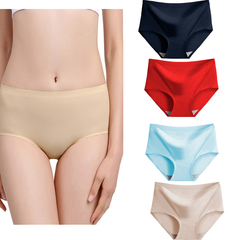 4 Pack Womens Underwear  Seamless Hipster Panties Ladies Bikini No Show Panty Lines Black+red+blue+nude L(Fit 40-60kg)