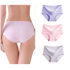 4 Pack Womens Underwear  Seamless Hipster Panties Ladies Bikini No Show Panty Lines white+purple+pink+light coffee L(Fit 40-60kg)