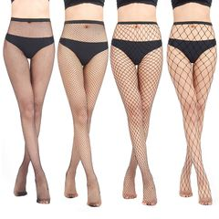 Women Long Sexy Hollow Out Fishnet Stockings Pantyhose Black High Waist Tights Panty Lingerie Big Fishnet one size