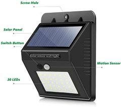 30LED Solar Lights Wireless Waterproof Motion Sensor Outdoor Light for Patio, Deck, Yard, Garden black one size 30LED