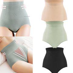 3 Pack Women Underwear Seamless  Body Shapewear Briefs Tummy Control Slimming Panties Briefs 3 PCS Black+nude+light green L(Fit for 40-60kg)