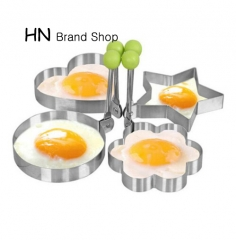 HN-Stainless Steel Fried Egg Shaper egg Pancake Ring Mould Mold Kitchen Cooking Tool Stainless Steel Five-pointed star as picture