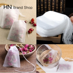 HN 100Pcs/Lot Teabags Empty Scented Tea Bags With String Heal Seal Filter Paper for Herb Loose Tea White 5.5 x 7CM