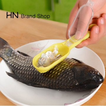 HN Brand-Durable Plastic Fish Scale Remover Scraper Cleaner Scaler Kitchenware Peelers Yellow as picture