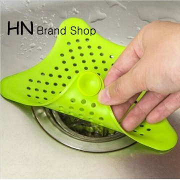 HN Brand-Silicone Kitchen Sink Filter Sewer Drain Hair Colanders & Strainers Filter Bathroom Sink green as picture