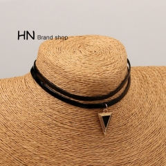 HN Brand-1Pcs/Set New Beautiful Hot Double-deck Triangle alloy necklace Women Jewellery black chain length:29cm