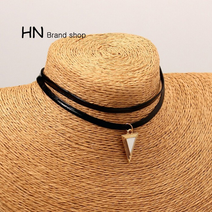 HN Brand-1Pcs/Set New Beautiful Hot Double-deck Triangle alloy necklace Women Jewellery white chain length:29cm