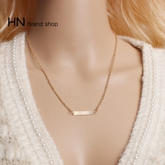 HN Brand-1Pcs/Set New Beautiful Hot One word Shape alloy Necklace Woman Jewelry gold one size
