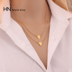 HN Brand-1Pcs/Set New Beautiful Hot Double layer alloy Triangle Necklace Women Jewelry Gift gold one size