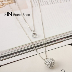 HN Brand-1Pcs/Set New Beautiful Multi-storey Diamond circle The Ball Necklace For Women Jewellery 925 pure silver chain length:54cm