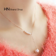 HN Brand-1Pcs/Set New Beautiful Metal White Pearl Necklaces For Women Jewellery Gift gold one size
