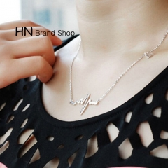 HN Brand-1Pcs/Set New Beautiful Fashion ECG Pendant Necklace Female heart shape Imitation18K Women gold chain length:42cm