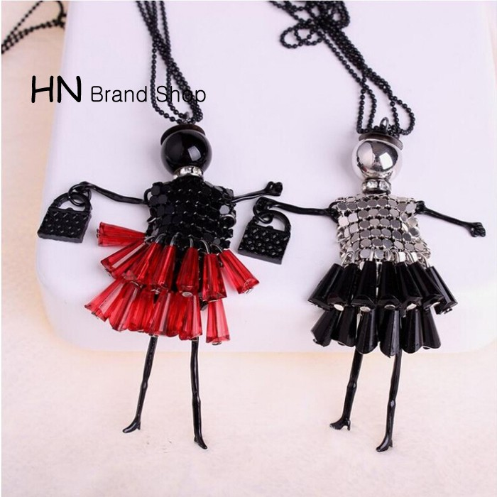 HN Brand-1Pcs/Set New Beautiful Fashion Crystal film Sweater chain Bags Necklace For Women Jewellery Silver chain length:68cm