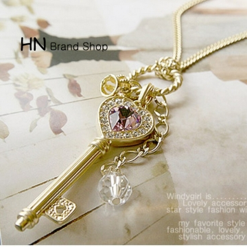 HN Brand-1Pcs/Set New Beautiful Amethyst love heart gold crown key necklace for Christmas Women gold chain length:68cm