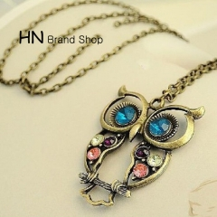 HN Brand-1Pcs/Set New Beautiful Exquisite pierced Necklace Owl short necklaces Pendant Women Jewelry Bronze chain length:70cm