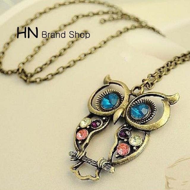 HN Brand-1Pcs/Set New Beautiful Exquisite pierced Necklace Owl short necklaces Pendant Women Jewelry Bronze chain length:70cm