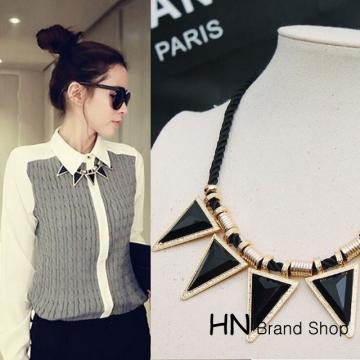 HN Brand-1Pcs/Set New Triangular geometry Exaggeration Jewelry necklace Pendant  Women Jewellery black chain length:46.5cm