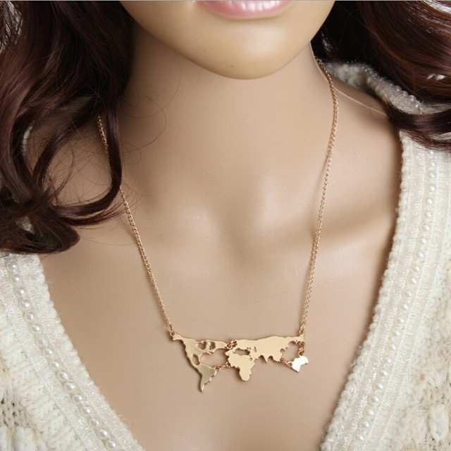 HN Brand-1Pcs/Set New World map Necklaces Jewelry necklace Pendant Women Jewellery Gift gold perimeter:51m