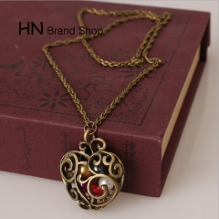 HN Brand-1Pcs/Set New Pierced heart carved beads Pearl Necklaces Pendant Women Jewellery Gift bronze chain length:68cm