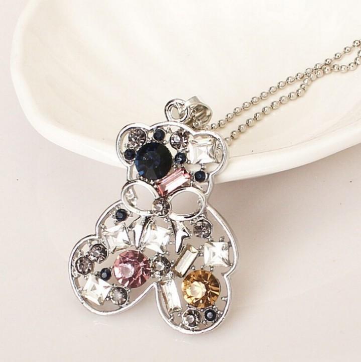 HN Brand-1Pcs/Set New All-match bottle crystal decoration necklace Pendant Women Jewellery Gift Bear one size