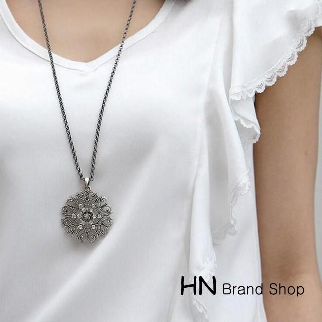 HN Brand-1Pcs/Set New Bohemia decorative hollow pattern necklace Pendant Women Jewellery Gift black chain length:68cm