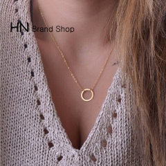 HN Brand-1Pcs/Set New Simple circle Jewelry necklace Pendant Women Jewellery Gift gold chain length:46cm