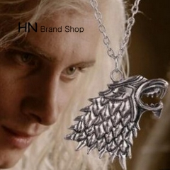 HN Brand-1Pcs/Set New The right of the game the wolf Necklace Pendant Man Jewellery Gift Silver chain length:50cm