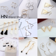 HN Brand-1 pair/Set New Exaggeration circles drops shells pearls tassels earrings long Jewellery 1 Gold one size