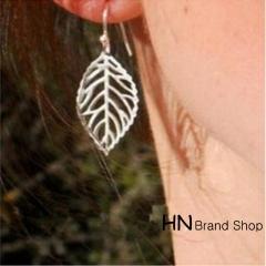 HN Brand-1 pair/Set New Beautiful Hot Metal Leaf Earrings Women Jewellery Gift gold 4.5cm*2.6cm