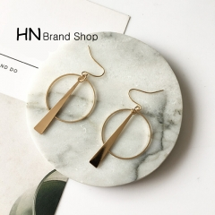 HN Brand-1 pair/Set New Beautiful Hot Long geometric circle stud earrings Women Jewellery gold one size