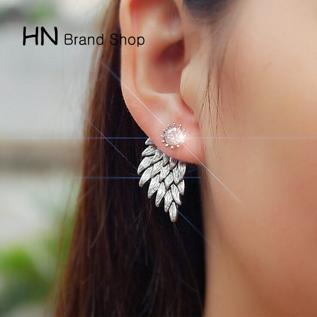 HN Brand-1 pair/Set New Beautiful Hot Angel wing Feather diamond alloy stud earrings Women Jewellery gold 1.5cm*3cm