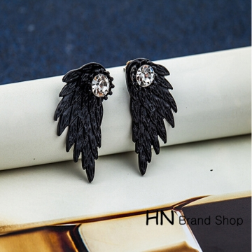 HN Brand-1 pair/Set New Beautiful Hot Angel wing Feather diamond alloy stud earrings Women Jewellery black 1.5cm*3cm