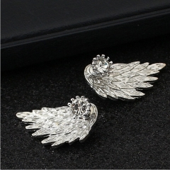 HN Brand-1 pair/Set New Beautiful Hot Angel wing Feather diamond alloy stud earrings Women Jewellery silver 1.5cm*3cm