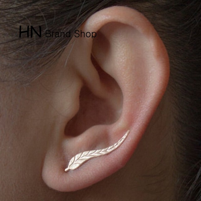 HN Brand-1 pair/Set New Beautiful Hot Long Metal tree leaves stud earrings Women Jewellery gold 0.4cm*2.5cm