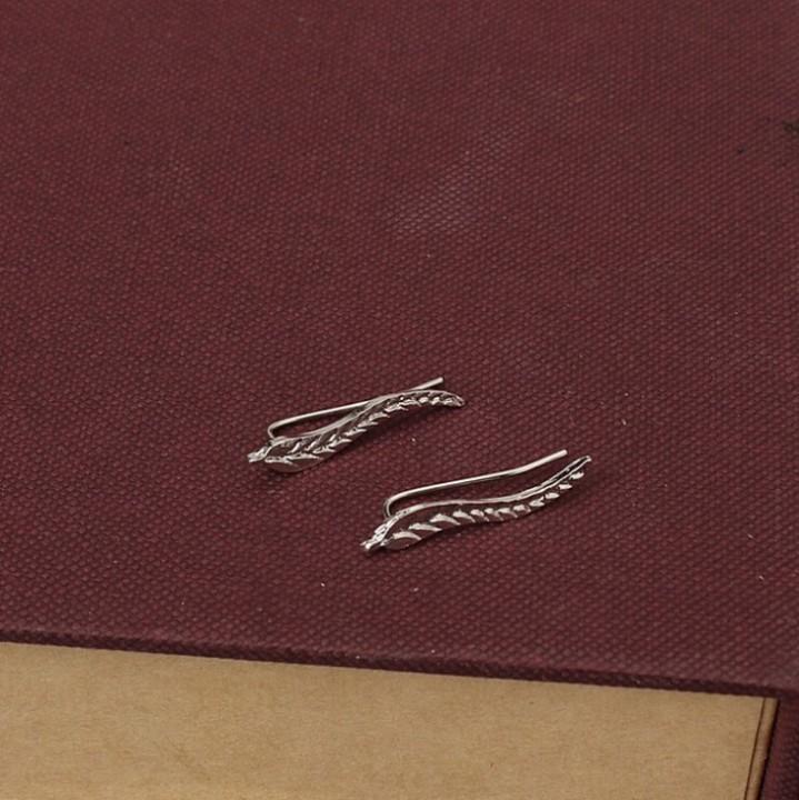 HN Brand-1 pair/Set New Beautiful Hot Long Metal tree leaves stud earrings Women Jewellery silver 0.4cm*2.5cm