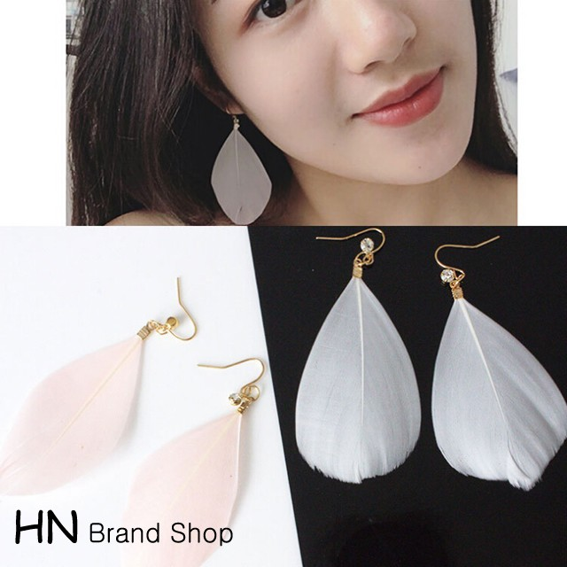 HN Brand-1 pair/Set New Beautiful Hot Silver Feather shining zircon stud earrings Women Jewellery white 1.3cm*6.8cm