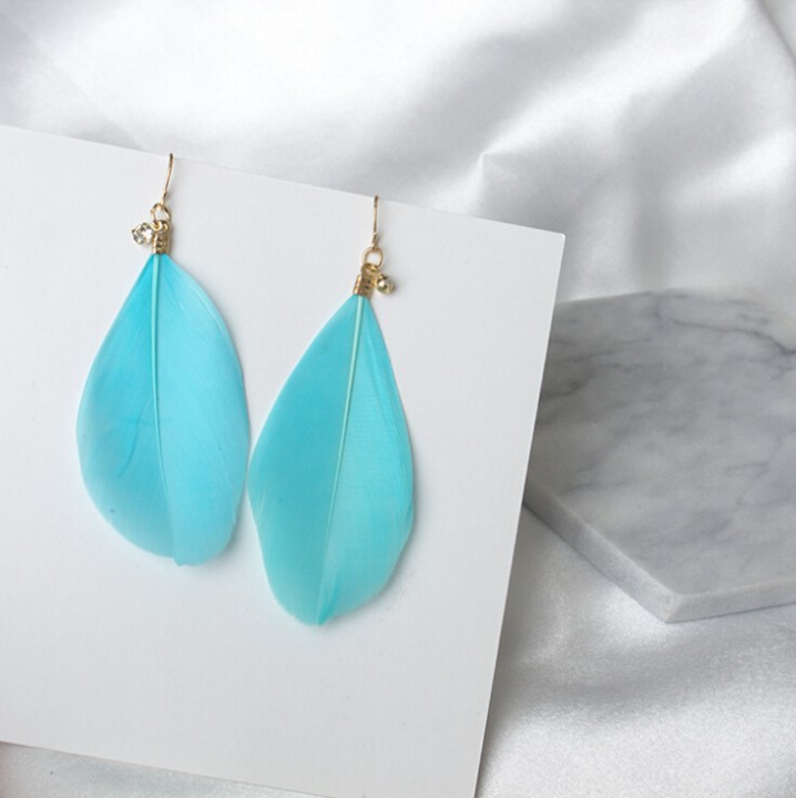 HN Brand-1 pair/Set New Beautiful Hot Silver Feather shining zircon stud earrings Women Jewellery Blue 1.3cm*6.8cm
