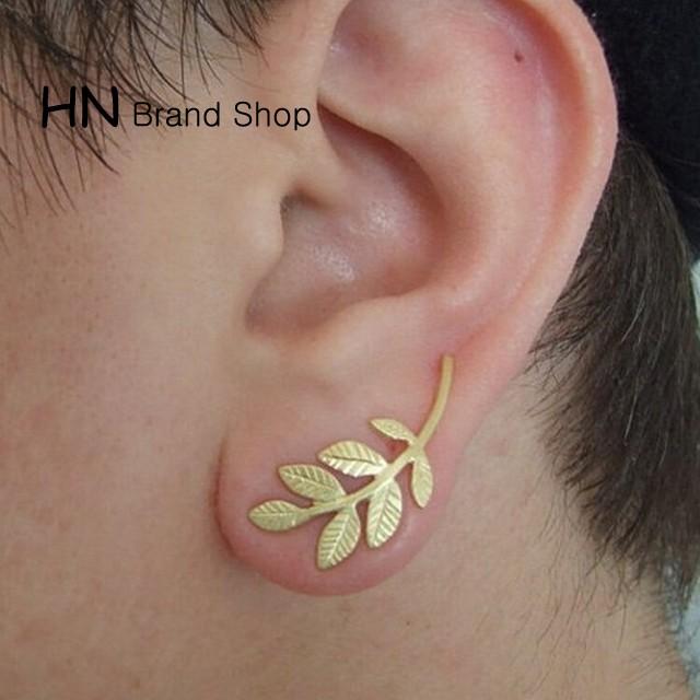HN Brand-1 pair/Set New Beautiful Hot Plant leaves metal stud earrings Women Jewellery Gift gold 3cm*1.3cm