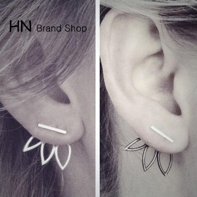 HN Brand-1 pair/Set New Beautiful Hot Hollowed lotus stud earrings For Women Jewellery Gift gold 1.6cm*1.6cm