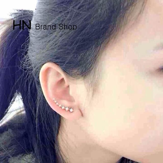 HN Brand-1 pair/Set New Beautifult A row of 7 Diamond stars stud earrings For Women Jewellery Gift gold chain length:0.22cm