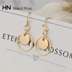 HN Brand-1 pair/Set New Geometric Metal Mini double hollow Wafer stud earrings Women Jewellery Gift gold Outer diameter:1.5cm