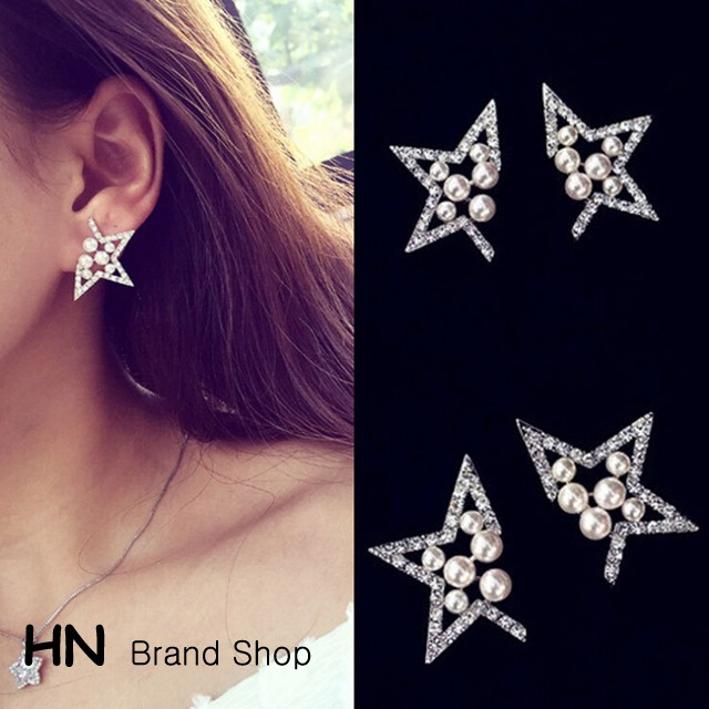 HN Brand-1 pair/Set New five corners of the stars hollow pearl diamond stud earrings Women Jewellery silver 1.3cm*2.3cm