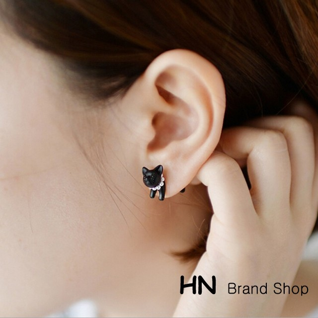 HN Brand-1 pcs/Set New Beautiful Hot Pearl animal leopard cat stud earrings For Women Jewellery Gift Black 1.3cm*1.6cm