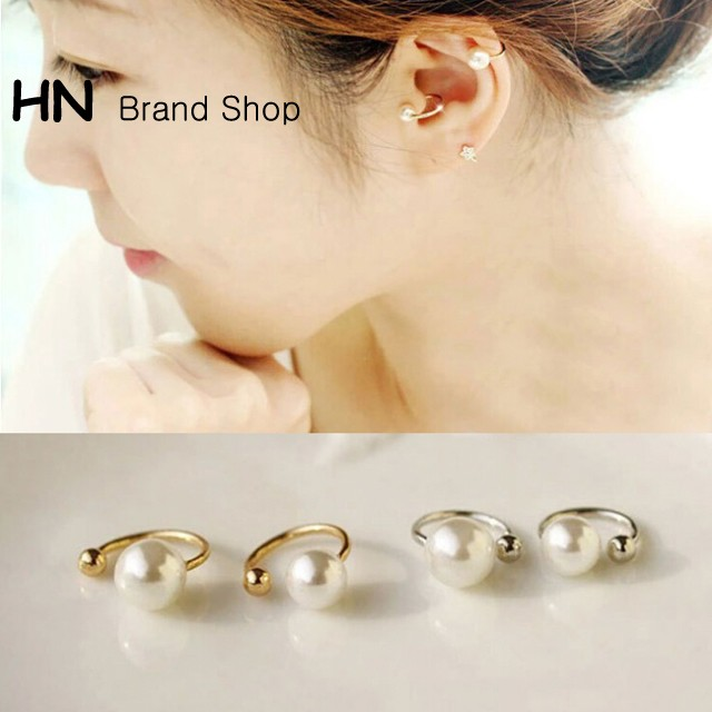 HN Brand-1 pair/Set New Beautiful U type ear mask without pierced ears earrings Women Jewellery Gift gold Pearl size:0.6cm