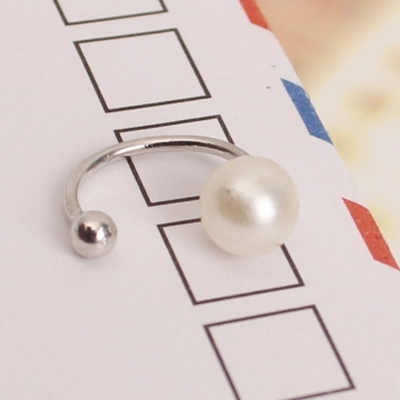 HN Brand-1 pair/Set New Beautiful U type ear mask without pierced ears earrings Women Jewellery Gift silver Pearl size:0.6cm