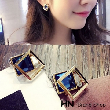 HN Brand-1 pair/Set New Beautiful Hot Double layer square crystal earrings For Women Jewellery Gift Blue 1.3cm*1.3cm