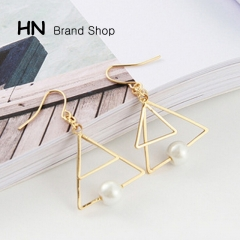 HN Brand-1 pair/Set New Hot Double triangle pearl multi layer design earrings Women Jewellery Gift Gold White one size